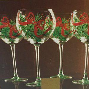 Lenox Christmas Wine Glasses Hand Painted Gems 4